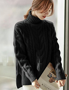 cheap Women's Sweaters-Women's Long Sleeves Pullover - Solid Colored Turtleneck