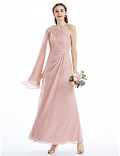 tanie Romantyczny róż-Krój A Księżniczka Na jedno ramię Do kostki Szyfon Sukienka dla druhny z Plisy Krzyżowe Fałdki boczne przez LAN TING BRIDE®