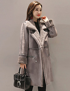 Women's Casual/Daily Simple Winter Fall Fur Coat,Solid Shirt Collar Long Sleeve Long Faux Fur