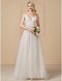 billiga Plusstorlek brudklänningar-A-linje / Prinsessa Dunkel halsringning Svepsläp Tyll / Spets med pärlor Bröllopsklänningar tillverkade med Spets av LAN TING BRIDE®