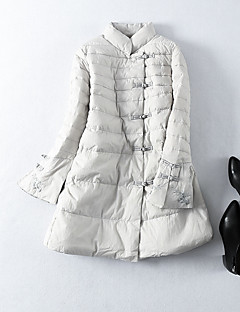 cheap Women's Downs & Parkas-Women's Daily Going out Chinoiserie Solid Long Down, Long Sleeves