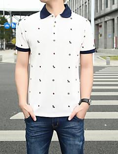 Polyester Kortermet,Skjortekrage T-skjorte Ensfarget Trykt mønster Gatemote Ut på byen Herre