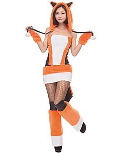 billige Halloweenkostymer-Fox Girl Cosplay Kostumer Dame Jul Halloween Karneval Nytt År Festival / høytid Halloween-kostymer Hvit Fargeblokk
