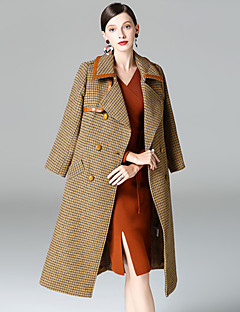 Dames Eenvoudig Verfijnd Street chic Herfst Winter Jas,Uitgaan Casual/Dagelijks Pied-de-poule Overhemdkraag Lange mouw Lang Wol Polyester
