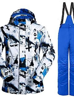 billiga Skid- och snowboardkläder-Herr Skidjacka och -byxor Varm, Vindtät, vattenbeständigt Skidåkning / Camping / Multisport Polyester, 100 % bomull Klädesset Skidkläder
