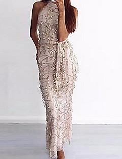 Χαμηλού Κόστους Sequin Dresses-Γυναικεία Swing Φόρεμα - Μονόχρωμο Μακρύ Ψηλή Μέση Λαιμόκοψη U