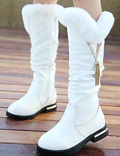 Para Meninas sapatos Pele Outono Inverno Conforto Botas de Neve Botas Para Casual Branco Preto Vermelho