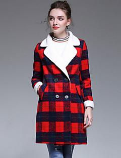 レディース お出かけ プラスサイズ 冬 コート,シンプル ストリートファッション モダンシティ プリント レギュラー ウール ポリエステル