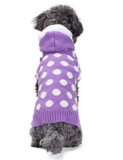 billiga Hundkläder-Katt Hund Kappor Tröjor Huvtröjor Hundkläder Prickig Purpur Spandex Linne & Siden blandning Chinlon Kostym För husdjur Ledigt/vardag