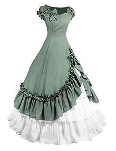 One Piece Dress Gothic Lolita Lolita Cosplay Lolita Dress Green Vintage Cap Short Sleeves Dress For Other