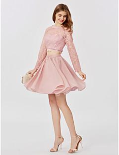 billiga Cocktailklänningar-Prinsessa Prydd med juveler Kort / mini Tyll Genomskinlig spets Cocktailfest Klänning med Plisserat av TS Couture®