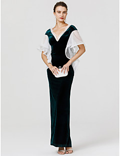 Tubinho Decote V Longo Veludo Evento Formal Vestido com Renda Fru-Fru de TS Couture®