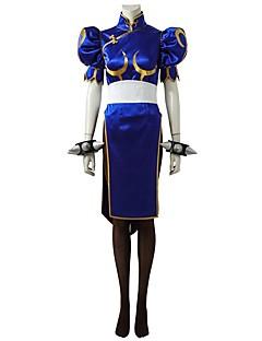 """billige Videospill cosplay-Inspirert av Street Fighter Chun-Li video Spill  """"Cosplay-kostymer"""" Cosplay Klær Kjoler Ensfarget Halv-ermet Kjole Belte Sokker"""