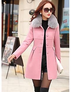 cheap Women's Fashion & Clothing-Women's Daily Street chic Winter Coat,Solid Shirt Collar Long Sleeves Regular Polyester Fur Trim