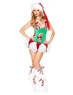 billige julen Kostymer-Julehue Julkjole Dame Jul Festival / høytid Halloween-kostymer Grønn Jul Jul