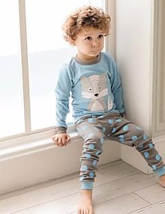 Jungen Schlafanzüge Hund Polyester Langarm Zeichentrick Leicht Blau
