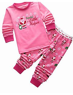 billige Undertøj og sokker til piger-Pige Mønster Nattøj, Bomuld Langærmet Tegneserie Lyserød