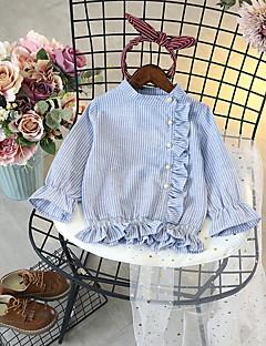 cheap Girls' Tops-Girls' Striped Shirt,Cotton Polyester Spring Fall Long Sleeve Simple Blue