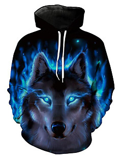 cheap Clearance-US-Men's Plus Size Long Sleeve Hoodie - 3D / Animal Wolf, Print Hooded Blue XL / Spring / Winter