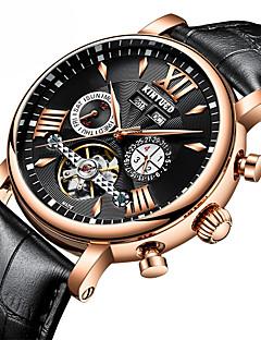 お買い得  レザー-男性用 ドレスウォッチ スケルトン腕時計 機械式時計 Swiss 自動巻き カレンダー クロノグラフ付き 耐水 本革 バンド ぜいたく カジュアル Elegant ブラック ブラウン