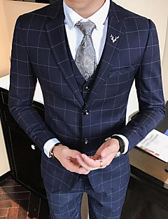 billige Herremote og klær-Bomull Polyester Normal Overstørrelse Skjortekrage Blazer Hundetannmønster Høst Enkel Arbeid Fritid/hverdag Herre