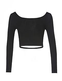 baratos Suéteres de Mulher-Mulheres Casual Laço Sólido Manga Longa Curto Pulôver, Decote Redondo Verde / Branco / Preto Tamanho Único