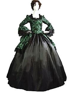 Gothic Punk Vintage Jaren '60 Victoriaans Vrouwelijk Volwassenen Badpak Jurken Cosplay Groen Bloemen Klok 3/4 mouw Tot de enkel