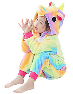 Kigurumi Pajamas Flying Horse Unicorn Onesie Costume Flannel Fabric Yellow Cosplay For Kids Animal Sleepwear Cartoon Halloween