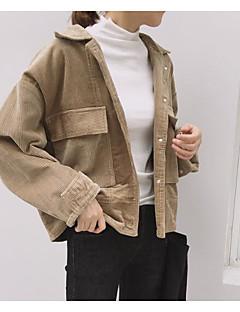 お買い得  レディースブレザー&ジャケット-女性用 ジャケット シャツカラー ソリッド モダンスタイル パッチワーク