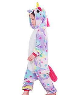 Kigurumi Pajamas Flying Horse Unicorn Onesie Costume Flannel Fabric Rainbow Blue Pink Cosplay For Kids Animal Sleepwear