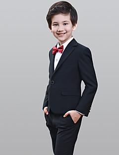 Preto 100% algodão Terno de Pajem - 5 Inclui Blazer Calças Colete Gravata Borboleta Camisa