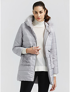 Women's Padded Coat,Casual Daily Solid-Cotton Others Cotton Long Sleeves