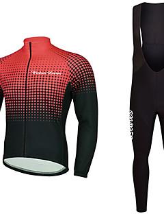billiga Cykling-Wisdom Leaves Långärmad Cykeltröja med Haklapp-tights - Grön / Blå / Svart / Guld Cykel Tröja / Klädesset Polyester Gradient / Elastisk
