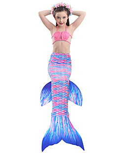 cheap Kids Halloween Costumes-The Little Mermaid Skirt Bikini Swimwear Children's Christmas Masquerade Festival / Holiday Halloween Costumes Purple Red Blue Pink Color