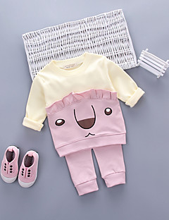 billige Tøjsæt til piger-Pige Tøjsæt Daglig I-byen-tøj Tegneserie, Bomuld Akryl Alle årstider Langærmet Sødt Afslappet Aktiv Lyserød Lysegrøn Lyseblå