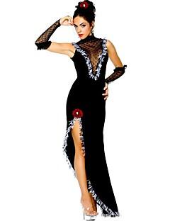 Vintage Zigeuner Kostuum Vrouwelijk Feestkostuum Gemaskerd Bal Zwart Vintage Cosplay Mouwloos Mouwloos Tot de grond