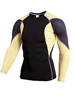 billige Løbetøj-Herre Løbe-T-shirt Langærmet Fodbold, Fitness Toppe for Fodbold / Løb Rayon Rød / Grøn / Blå XXL / XXXL / 4XL