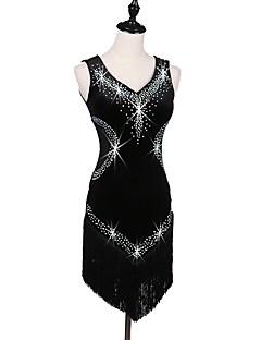 お買い得  -ラテンダンス ドレス 女性用 性能 ベルベット クリスタル/ラインストーン ノースリーブ ハイウエスト クリスタル
