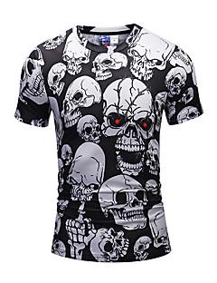 Herren Druck Freizeit Aktiv Punk & Gothic Alltag Ausgehen T-shirt,Rundhalsausschnitt Frühling Sommer Kurze Ärmel Polyester Elasthan Mittel