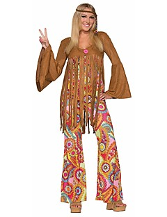 Vintage Hippie Jaren '70 Kostuum Dames Feestkostuum Koffie Vintage Cosplay Lange mouw Klok Slip