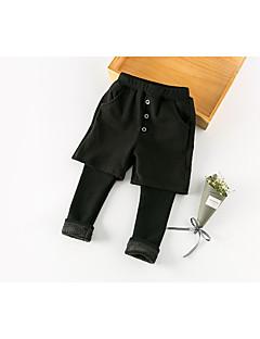 billige Drengebukser-Drenge Bukser Ensfarvet, Bomuld Bomuld chambray Forår Efterår Simple Sort