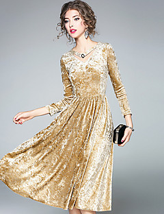 Kadın Günlük/Sade Actif A Şekilli Elbise Solid,Uzun Kol V Yaka Diz-boyu Polyester Sonbahar Normal Bel Mikro-Esnek Opak