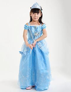 billige Halloweenkostymer-Prinsesse Cinderella Eventyr Kjoler Party-kostyme Barne Jul Maskerade Festival / høytid Halloween-kostymer Rød Blå Ensfarget Kjoler