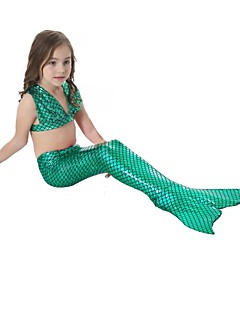 billige Halloweenkostymer-The Little Mermaid Aqua Princess Badetøy Bikini Jente Barne Havfrue og Trompet Kjole Slip Bikini Paljetter Jul Maskerade Festival / høytid Drakter Blå / Rosa / Fuksia Ensfarget