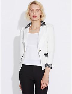 Damen Solide Einfach Arbeit Anzug,V-Ausschnitt Sommer Langärmelige Standard Polyester