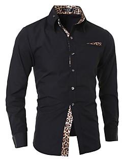 billige Herremote og klær-Bomull Langt Erme,Skjortekrage Skjorte Leopard Alle årstider Fritid Punk & Gotisk Ut på byen Arbeid Herre