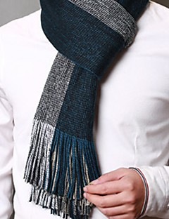 cheap Fashion Scarves-Men's Knitwear Rectangle Lattice Winter Blue Brown