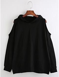 tanie Damskie bluzy z kapturem-Damskie Bawełna Bluza z Kapturem - Jendolity kolor