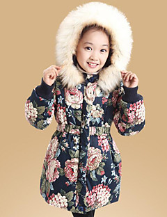 cheap Girls' Clothing-Girls' Daily Floral Down & Cotton Padded,Cotton Spandex Long Sleeves Cute Casual Navy Blue Beige