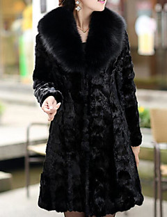 cheap -Women's Going out Casual/Daily Street chic Winter Fall Fur Coat,Solid Stand Long Sleeve Long Faux Fur Fur Trim